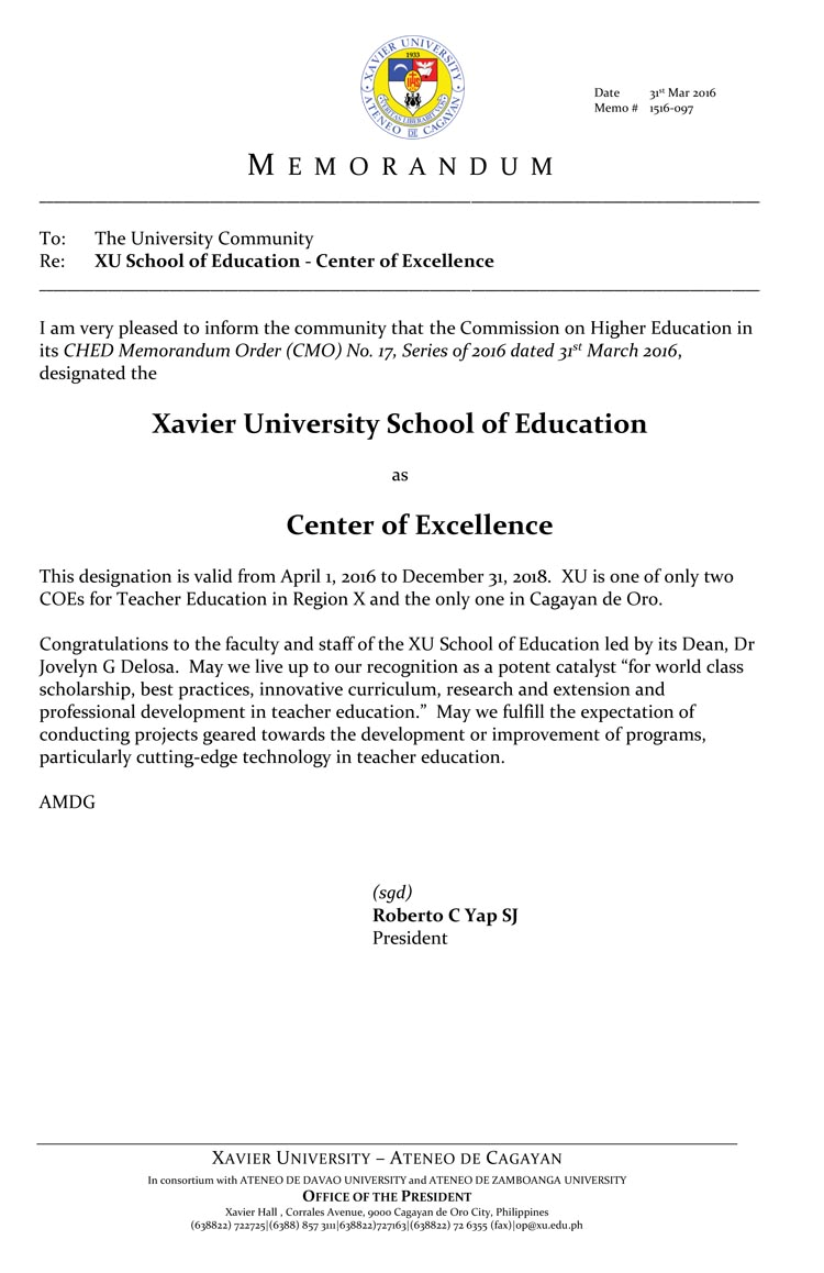 RCE Northern Mindanao Xavier School is granted Center of Excellence